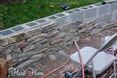 Crafts DIY Home DIY Fire Pit Decorations Gardening Mason Jars Backyard Project~Update - All Things Heart and Home Backyard Retaining Walls, Backyard Fences, Outdoor Landscaping, Front Yard Landscaping, Diy Fence, Fence Ideas, Landscaping Design, Patio Ideas, Backyard Patio Designs