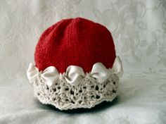 Baby+Girl+Knitted+Baby+Hat+in+Red+with+Ivory+by+CottonPickings