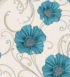Papel pintado flores grandes verde azulado fondo volutas - 1140296