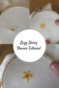 Lazy Daisy Stitch - Flower Tutorial - Crewel Ghoul Lazy Daisy Stitch and French Knot Stitch. Use two easy embroidery stitches to make a flower with this hand embroidery stitch tutorial! French Knot Embroidery, Embroidery Flowers Pattern, Simple Embroidery, Learn Embroidery, Embroidery For Beginners, Crewel Embroidery, Hand Embroidery Designs, Embroidery Kits, Japanese Embroidery