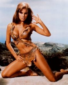Raquel Welch in her leather bikini from One Million Years B.C. (aside from being a hottie, you know you saw this poster on the jail cell wall in Shawshank Redemption for pinup proof!)