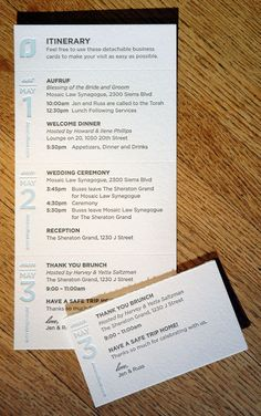 This itinerary card perforates into business size cards for the guest to carry during each days' event