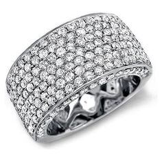2.75ct Round Pave Diamond Ring Band in 14k White Gold