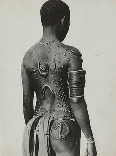 Credit: Edmond Demaître /© musée du quai Branly An 'embroidered' tattoo on the back of a native of Gasmata, Papua New Guinea, circa 1935. These body ornamentations were produced by scarification