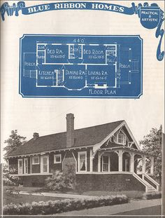 1921 Blue Ribbon Craftsman-style Bungalow - Future cabin in the woods - unique crafts Craftsman Style Bungalow, Craftsman Bungalows, Craftsman Homes, Bungalow Porch, Bungalow Ideas, Bungalow Homes, Vintage House Plans, Vintage Houses, Cabin In The Woods