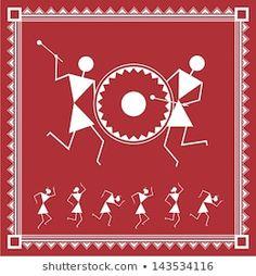 Worli Painting, Painting People, Fabric Painting, Madhubani Art, Madhubani Painting, Arte Tribal, Tribal Art, Art Indien, Indian Art Paintings