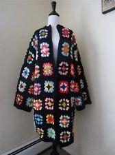 granny square jumper pictures | Vintage Granny Square Cardigan Sweater Jacket Duster Crochet BOHO ...