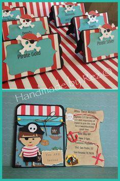 Handmade pocket invitations,Pirate Boy using life's a party cricut cart.