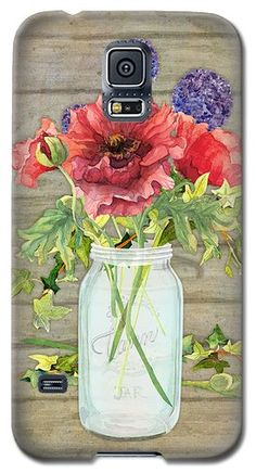 Rustic Country Red Poppy w Alium n Ivy in a Mason Jar Bouquet on Wooden Fence Galaxy S5 Case