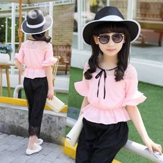 Cheap girl clothes set, Buy Quality clothes set directly from China fashion girl clothes Suppliers: 2017 Summer Children Fashion Bow Chiffon Girls Clothes Sets 2 Pcs. Black Lace Pants Set for Teenage Girls Clothing Set Stylish Dresses For Girls, Kids Outfits Girls, Dresses Kids Girl, Girls Party Dress, Girls Fashion Clothes, Stylish Kids, Girl Outfits, Kids Girls, Baby Kids