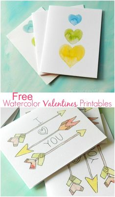Free Printable Watercolor Valentines and Clip Art
