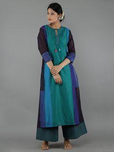 Blue Color Block Chanderi Kurta with Cotton Slip – The Loom