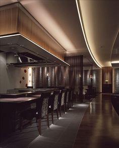 "overhead design at Sheraton Grande Tokyo Bay Hotel Restaurant ""Maihama… Japanese Bar, Japanese Style, Restaurant Design, Restaurant Bar, Teppanyaki Restaurants, Cove Lighting, Interior Design Business, Food Court, Cebu"