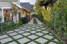 Furniture: Pavers Designed For Drainage Tom Hatlen Within Grass Driveway Pavers … - front yard ideas no grass Permeable Driveway, Concrete Driveways, Driveway Landscaping, Driveway Ideas, Pavers Ideas, Walkways, Brick Driveway, Flagstone, Driveway Design
