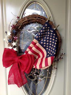 Patriotic wreath summer deco mesh wreath of July wreath Patriotic Crafts, Patriotic Wreath, July Crafts, Fourth Of July Decor, 4th Of July Decorations, July 4th, 4th Of July Wreaths, Americana Decorations, Craft Decorations