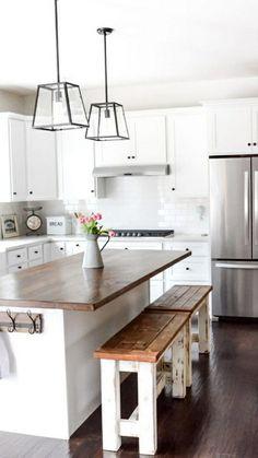 Farmhouse Kitchen Decor, Kitchen Redo, Home Decor Kitchen, Home Kitchens, Kitchen Benches, Kitchen Island For Small Kitchen, Farm House Kitchen Ideas, Long Narrow Kitchen, Country Kitchen Island