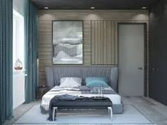 Image result for curtains for grey upholstered bed