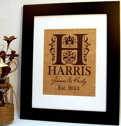 This personalized burlap print will make a wonderful engagement, wedding, anniversary, or housewarming gift.