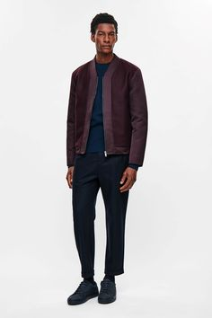 COS image 1 of Clean-neck padded zip-up jacket in Burgundy