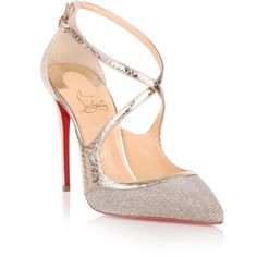 2086d3e97fd Christian Louboutin Crissos 100 Silver Glitter Pump (386.555 CLP) ❤ liked  on Polyvore featuring
