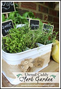 A $2 Goodwill Utensil Caddy is turned into a cute herb garden. David Tutera Casual Elegance products are used to decorate the caddy, plus mark the herbs.