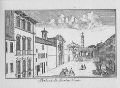 """Chiesa dell'Annunciata a sinistra e chiesa di Santa Caterina a destra (scomparse), via Manzoni, Milano. Marc'Antonio Dal Re, """"Vedute di Milano"""", incisione 83 (ca. 1745)."""