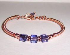 Copper Wire With Purple Swarovski Cube Crystals Bracelet #Handmade #Cuff