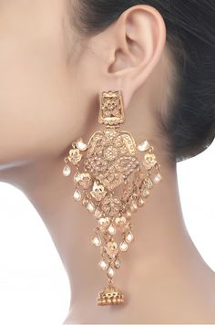 Silver Traditional Crystal Jhumki Earrings