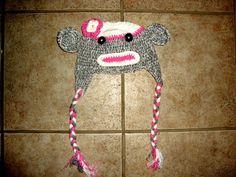 crocheted monkey beanie