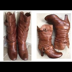 Boho-Chic Vintage brown leather boots Boho-Chic!!!  Beautiful vintage brown leather boots. YES, they are pre-loved, one of my favorites pair of boots.  Hate to part with them but can't wear them in Florida. Size 38 which will fit a size 7 1/2 in the US.  What you see is what you get.  No filters, taken outdoors in natural light. Vintage Shoes Heeled Boots