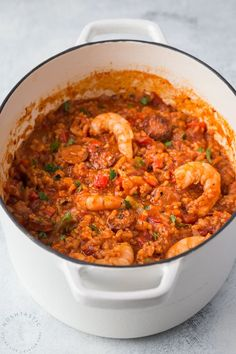 Authentic homemade Creole Jambalaya Recipe, it's flavor packed with bell peppers, celery, onions,andouille sausage & shrimp, you'll love it! gluten free.