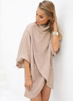 Shopping Khaki Fashion High Neck Irregular Hem Jumper online with high-quality and best prices Sweaters at Luvyle. Casual Dresses, Fashion Dresses, Floryday Dresses, Warm Dresses, Shift Dresses, Sweater Dresses, Dress Shirt, Knit Dress, Pullover Mode