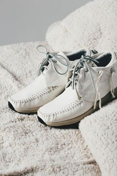 Visvim Women's FBT Elk In White  #Visvim #FBT #Moccasin #Elk #ElkLEather #Leather #Fashion #Streetwear #Style #Urban #Lookbook #Photography #Footwear #Sneakers #Kicks #Shoes
