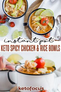 A hot meal is ready in minutes with the help of your pressure cooker and a few simple pantry ingredients. These keto spicy chicken and cauliflower rice bowls are not only easy to prepare but they make the perfect low carb lunch to take to work. With the help of your instant pot, this low carb chicken recipe is ready in no time! | KetoFocus @ketofocus #ketoinstantpotrecipes #ketodinners #ketospicychickenandrice #ketocomfortfood #fallketorecipes #winterketorecipes #ketofocus
