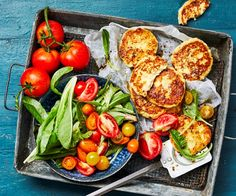 Tasty ricotta fritters, crispy on the outside and fluffy on the inside, are constraste perfectly with a fresh tomato salad. Pick your protein to add. Mandarine Recipes, Ricotta Fritters, Mixed Berry Jam, Beef Cheeks, Braised Beef, Recipe Mix, Orange Recipes, Tomato Salad, Chicken Recipes