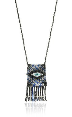 Zoe Kompitsi   Black & Blue Tartan Necklace