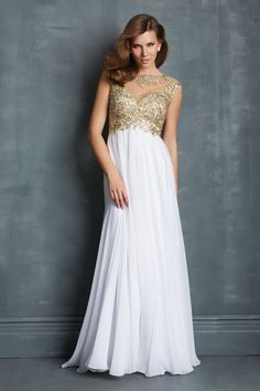 "Start out searching for your perfect long maxi white gold embroidered prom dress by flipping through magazines and online to see what kind of dress you are most attracted to. Then hit the stores with an idea in mind of what you are looking for. Try on as many dresses as you can; your idea of the ""perfect dress"" may not be as well suited for you as another style. Don't limit yourself."