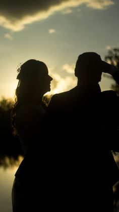 Newlyweds sunset picture