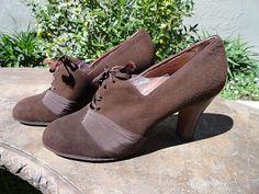 Vintage 1930s brown suede shoes.