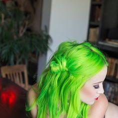 Colorful hair! #neon #green #hair