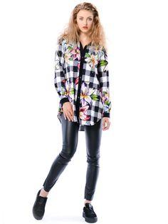 Linda Hypnotic - koszula w kratę i kwiaty