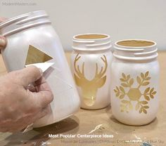 DIY Christmas luminaries with mason jars and modern masters Metallic Pain . - CarolaDIY Christmas Luminaries with Mason Jars and Modern Masters Metallic Pain . - DIY Mason Jars Master Metallic With Home Decor, Mason Jar Christmas Crafts, Christmas Centerpieces, Mason Jar Crafts, Diy Christmas Gifts, Holiday Crafts, Centerpiece Ideas, Diys With Mason Jars, Diy Christmas Decorations, Christmas Lights