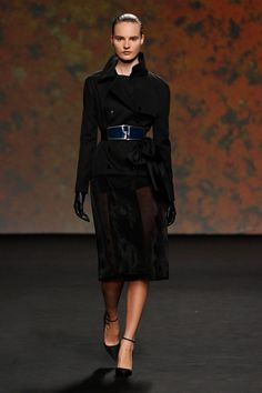 Dior Haute Couture Autumn-Winter 2013 – Look 26: Black wool and crin trench coat. Discover more on www.dior.com #Dior#PFW