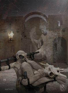"""Ariadna | Atrium Taurorum"" [Genius Loci - slab1/5] 2016 © [Mazareno] ominimedial-digitalfrottage-photomanipulation [proportions 1,37:1]#mixmedia #photomanipulation #glitch #photography #drawing #graphic #painting #digitalart #omnimedia #inkjet #fresco #esotericism #mythology #symbolism  #abandoned #geniusloci #Lascaux #Canova #pollution #Dionysus #initiation #ritual #epos #noumenon #phenomenon #alchemy #science #astrology #Mediterranean #labyrinth #cave #arcane #beast #man #god #soul #love…"