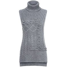 Derek Lam 10 Crosby - Oversized Turtleneck Sweater (1,760 MYR) ❤ liked on Polyvore featuring tops, sweaters, sleeveless tops, boucle sweater, sleeveless sweater, over sized sweaters and turtleneck sweater
