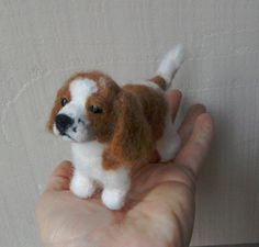 Needle felted King Charles Spaniel:  Little handmade, needle felted King Charles Spaniel dog. This miniature little cutie is small but with lots of character. Ideal for a lover/collector of King Charles spaniels or anyone actually, like me, who loves our four legged doggie friends!!  - 11cm long (inc tail) x 7.5cm high - Merino wool - beautiful glass eyes - felted onto a wire armature so he can be gently posed -felted with love  As with all my creations, this one is not suitable for chil...