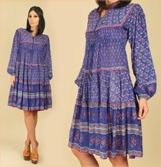 ViNtAgE 60's INDIA Dress HAND Painted Tribal by hellhoundvintage, $198.00