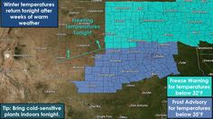 Widespread frost to freezing temperatures are expected across the northern half of Texas tonight into the morning hours Sunday. Sensitive plants should be protected.