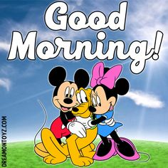 Good Morning! ➡ More Cartoon Graphics & Greetings: http://cartoongraphics.blogspot.com/ ~And on Facebook~ https://www.facebook.com/dreamontoyz Mickey Mouse and Minnie Mouse hugging Pluto