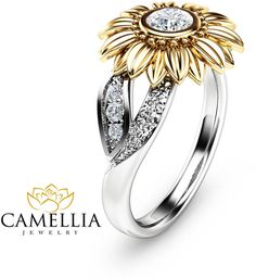 Etsy Unique Engagement Ring Natural Diamond 14K Gold Ring Sunflower Engagement Ring Camellia Jewelry #ad